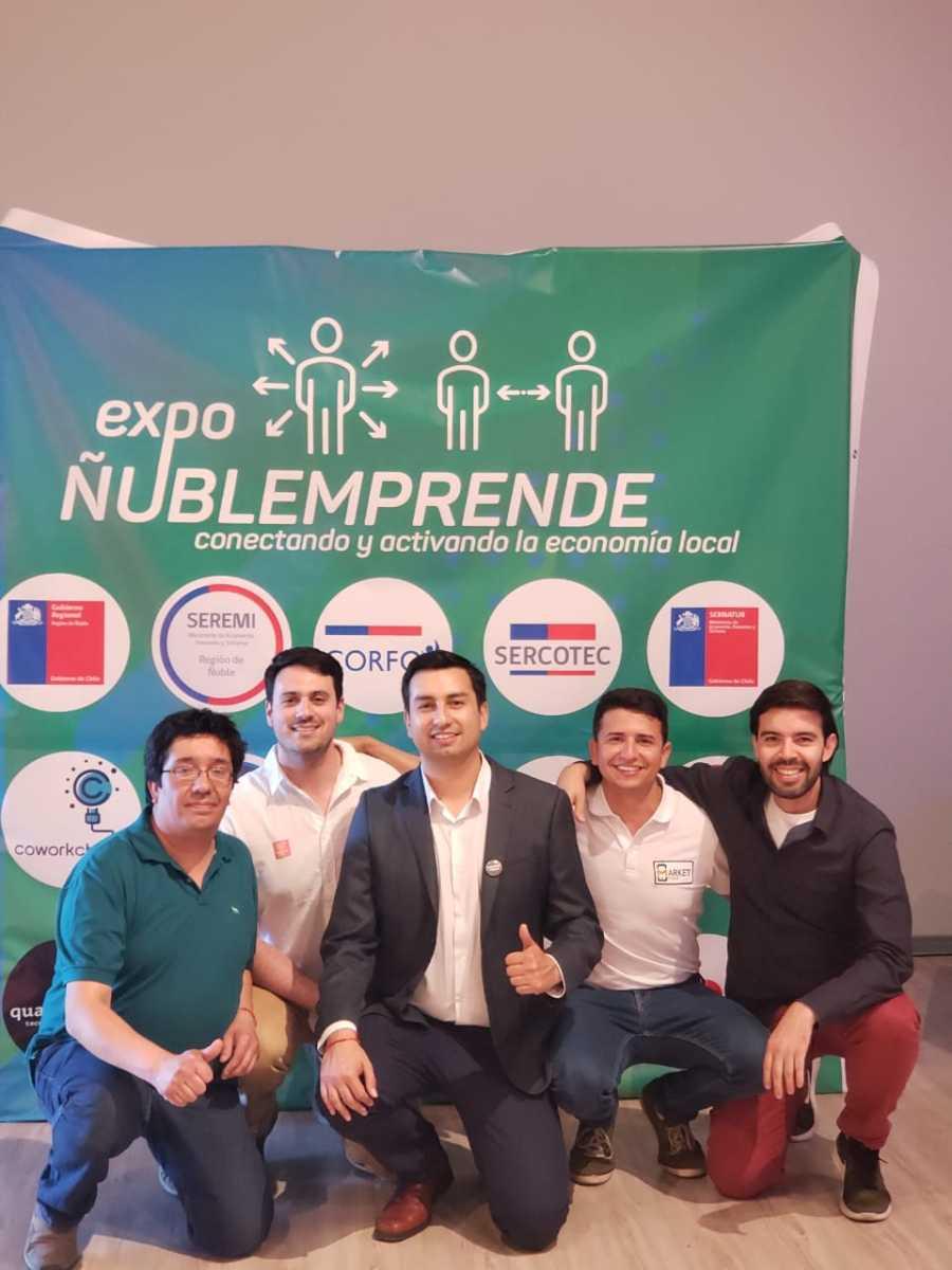Parte del equipo organizador de Expo Ñuble Emprende, Eduardo Miño, Stephan Elgart, Carlos Pinochet, Antonio Cano y Pablo Sandoval.