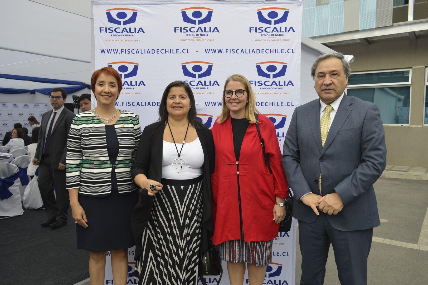 Nayalet Mansilla (Fiscal Regional de Ñuble), Marcela Cartagena (Fiscal Regional de Bío Bío), Francisca Werth (Directora Ejecutiva Nacional de la Fiscalía) y Claudio Arias (presidente de la Corte de Apelaciones de Chillán).