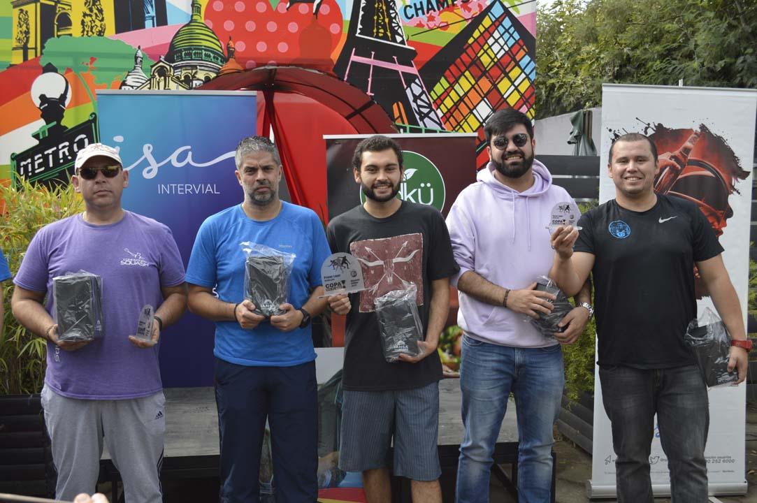 Categoría Dobles: Soto-Pierart (segundos), Allendes-Pérez (primeros), Riquelme-Arriagada (terceros)
