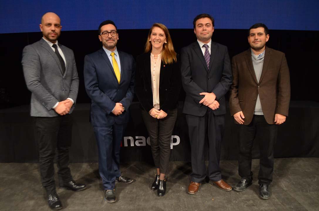 Adalberto Pereiro, Rodrigo Palacios, Claudia Mora, Cristian Benavides y Miguel Oyarce