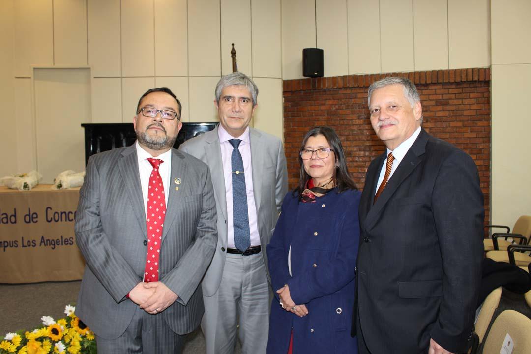 Mauricio Rondanelli (Subdirector UdeC Campus Los Ángeles), Carlos Saavedra (Rector UdeC), Helen Díaz (Directora General UdeC Campus Los Ángeles) y Esteban Krause (Alcalde de Los Ángeles).