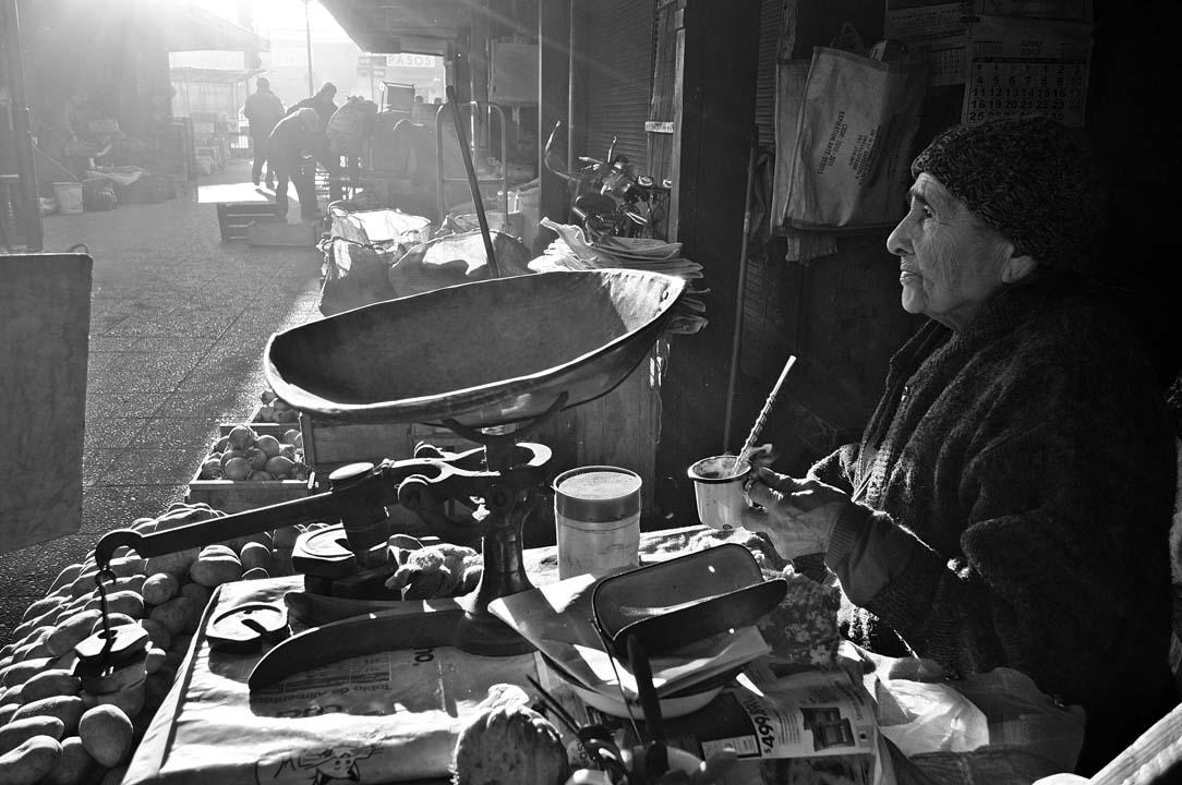 Puestos de papas el mercado de Chillan