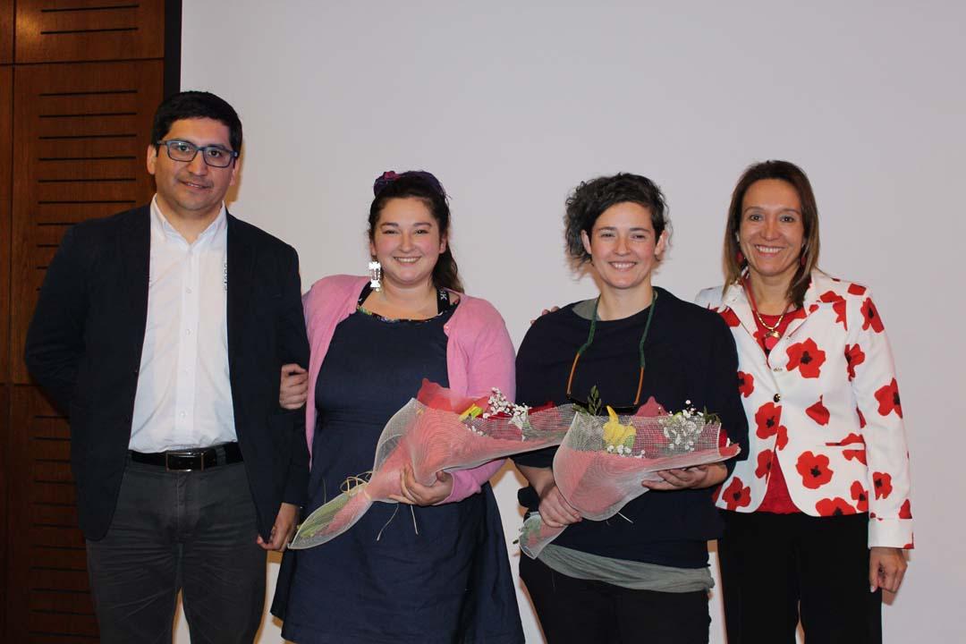 Manuel Velásquez (director del Centro de Negocios Sercotec Los Ángeles), Lilian Sáez, Marianela Sáez y Pamela Navarro (directora provincial de Turismo en Biobío)